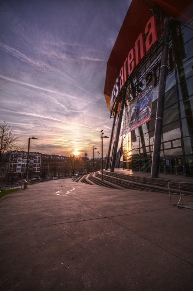 Sonnenuntergang an der KölnArena, HDR