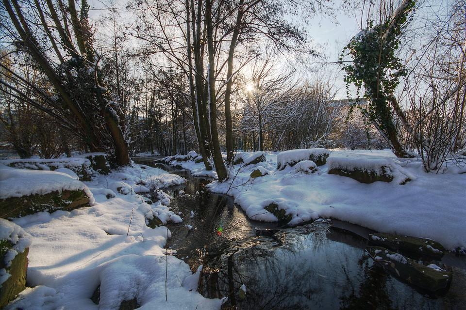 Der Bach im MediaPark bei Schnee